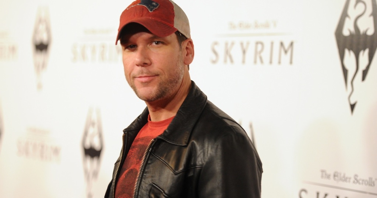 Comedian Dane Cook arrives at the official launch party for the most anticipated video game of the year, The Elder Scrolls V: Skyrim, at the Belasco Theatre on November 8, 2011 in Los Angeles, California.</p>