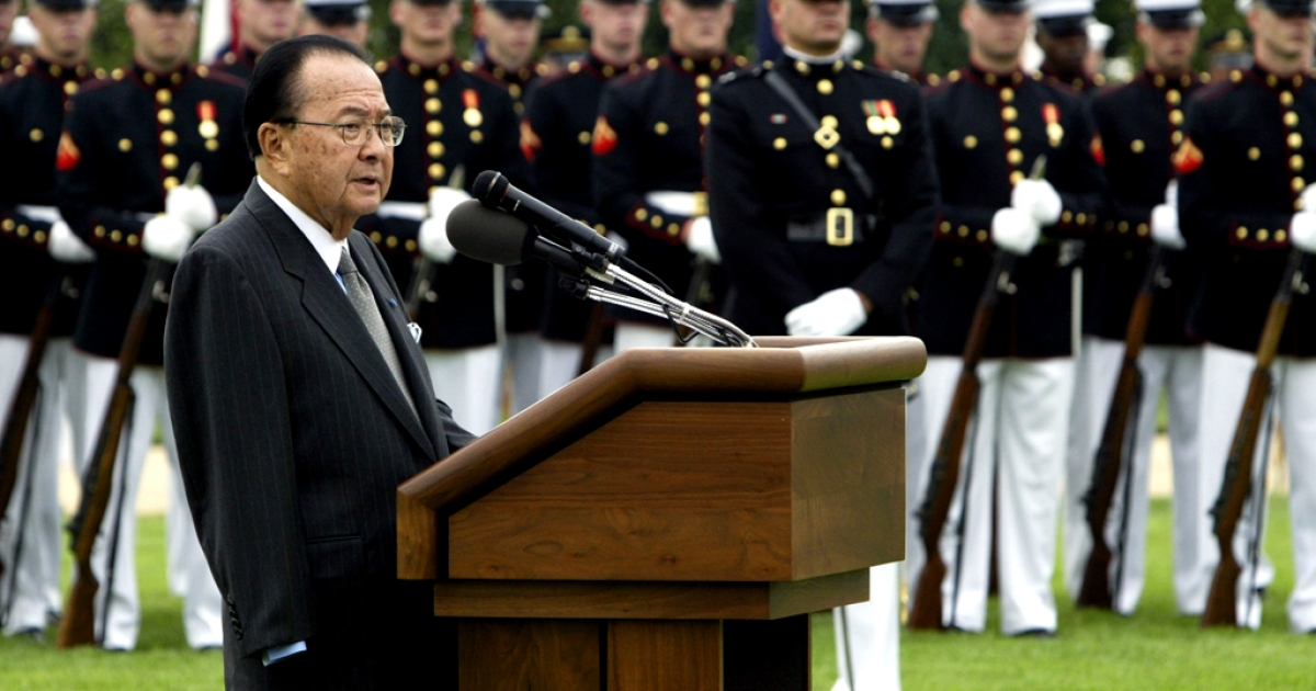 Sen. Daniel Inouye, a Democrat from Hawaii, speaking outside the Pentagon during the annual National POW/MIA Recognition Day ceremony on September 14, 2004. Inouye, who lost his arm in World War II combat, was a Medal of Honor recipient. He passed away on December 17, 2012, after serving in the Senate for 50 years.</p>