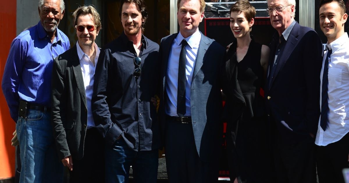 The Dark Knight Rises cast members on July 7, 2012 in California. The Dark Knight Rises opens in theaters in July 20.</p>