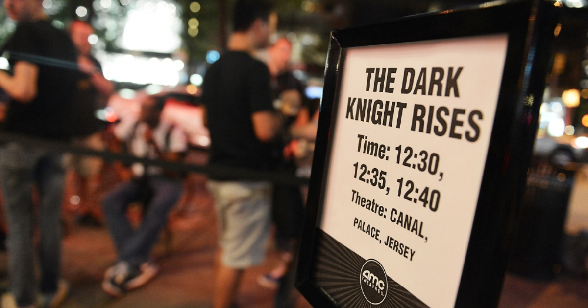 A view of fans waiting outside for 'The Dark Knight Rises' Midnight Premiere at Various Locations on July 19, 2012 in New York City.</p>