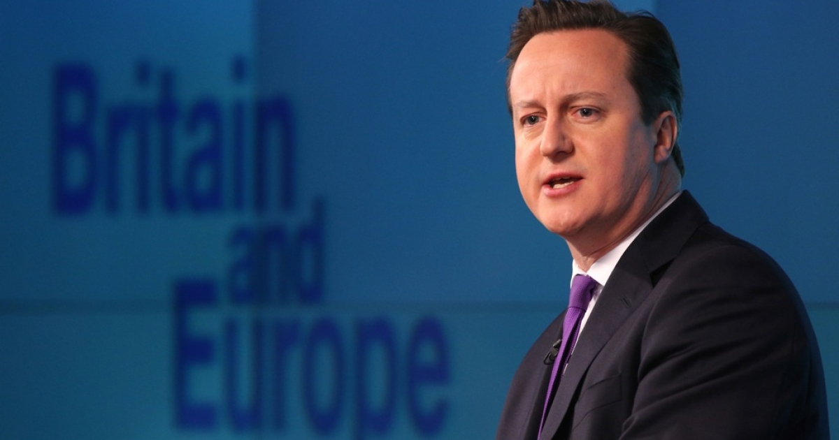 British Prime Minister David Cameron delivers his long-awaited speech on the UK's relationship with the EU on January 23, 2013 in London, England. Cameron has promised a referendum on EU membership should the Conservatives win the next election.</p>