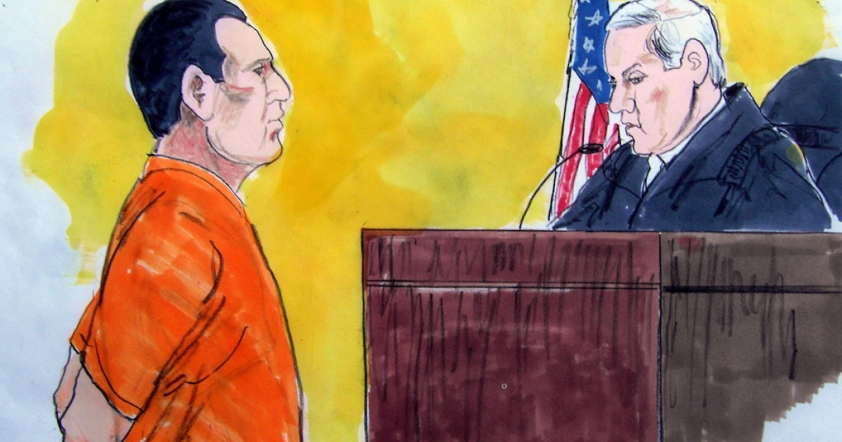 In this courtroom drawing, David Coleman Headley faces US District Court Judge Harry Leinenweber on March 18, 2010 in Chicago. Headley pleaded guilty to using his Western appearance as a cover while scoping out sites for the deadly 2008 Mumbai siege and plotting to kill a Danish cartoonist.</p>