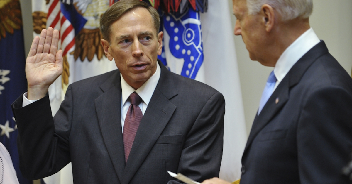 General David Petraeus(L), former head of the allied forces in Afghanistan, takes the oath of office as the next director of the Central Intelligence Angency from US Vice President Joe Biden on September 6, 2011 during a ceremony at the Roosevelt Room of the White House in Washington, DC.</p>