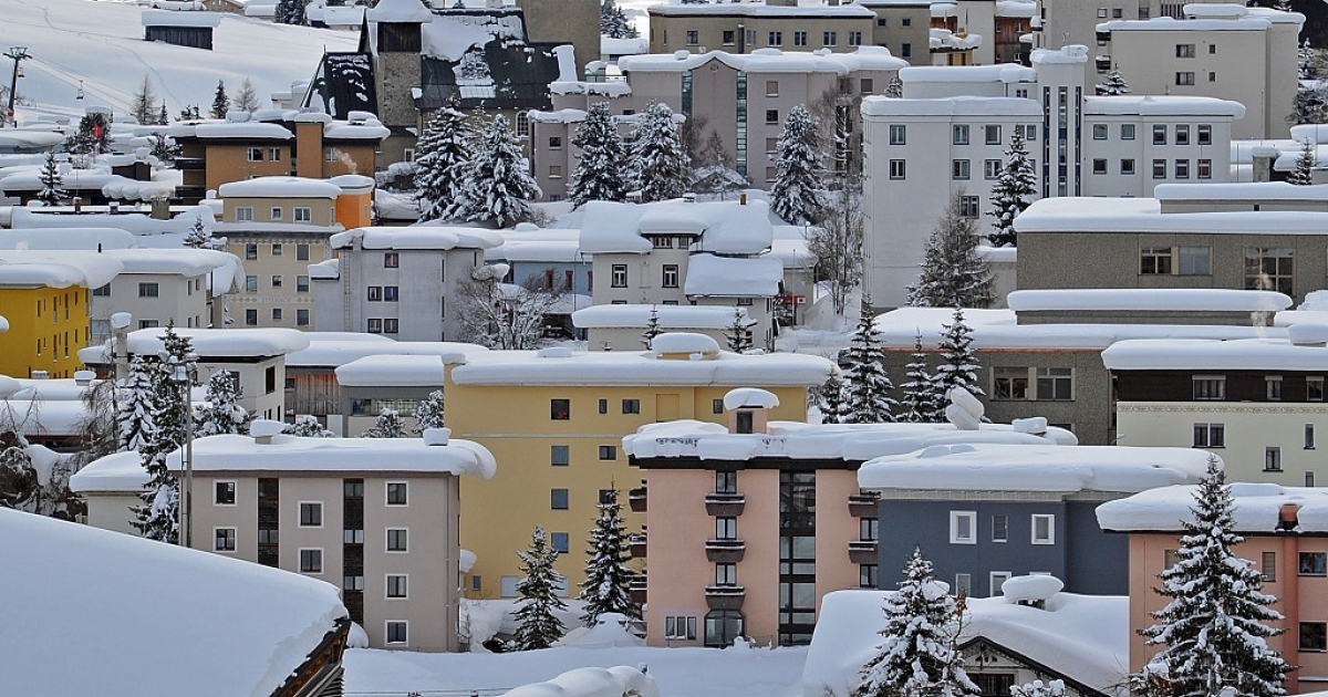 Davos, scene of the annual World Economic forum. The view from the mountaintop this year is as bleak as it is down below in the real world</p>