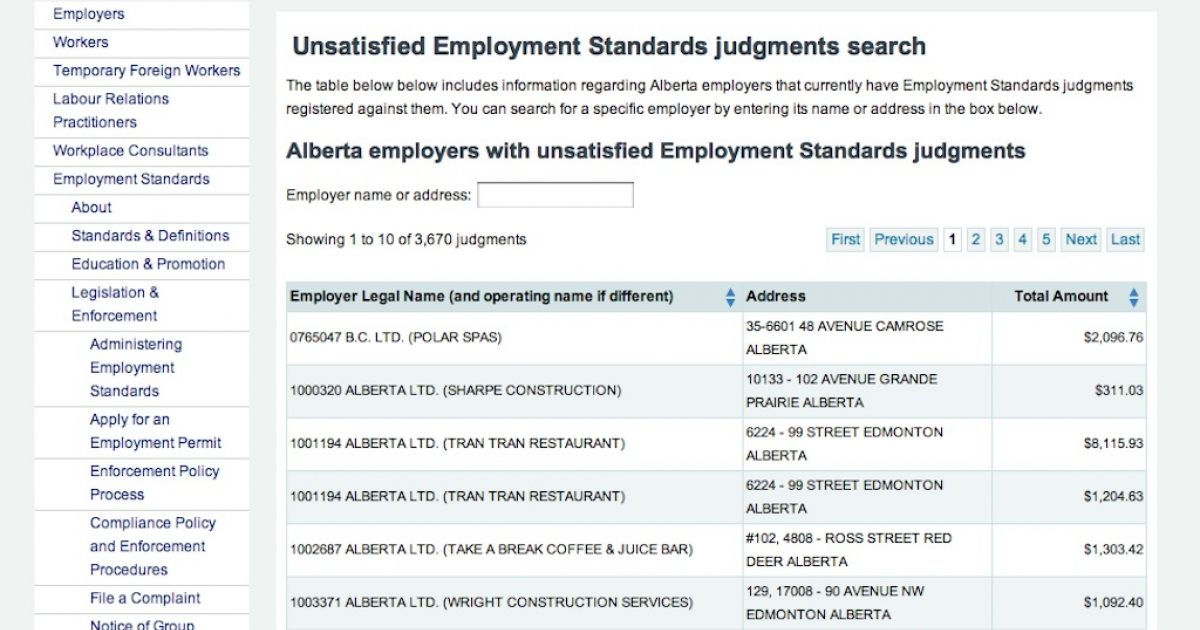 The search function of the Government of Alberta's new website that names deadbeat employers who don't pay their employees.</p>
