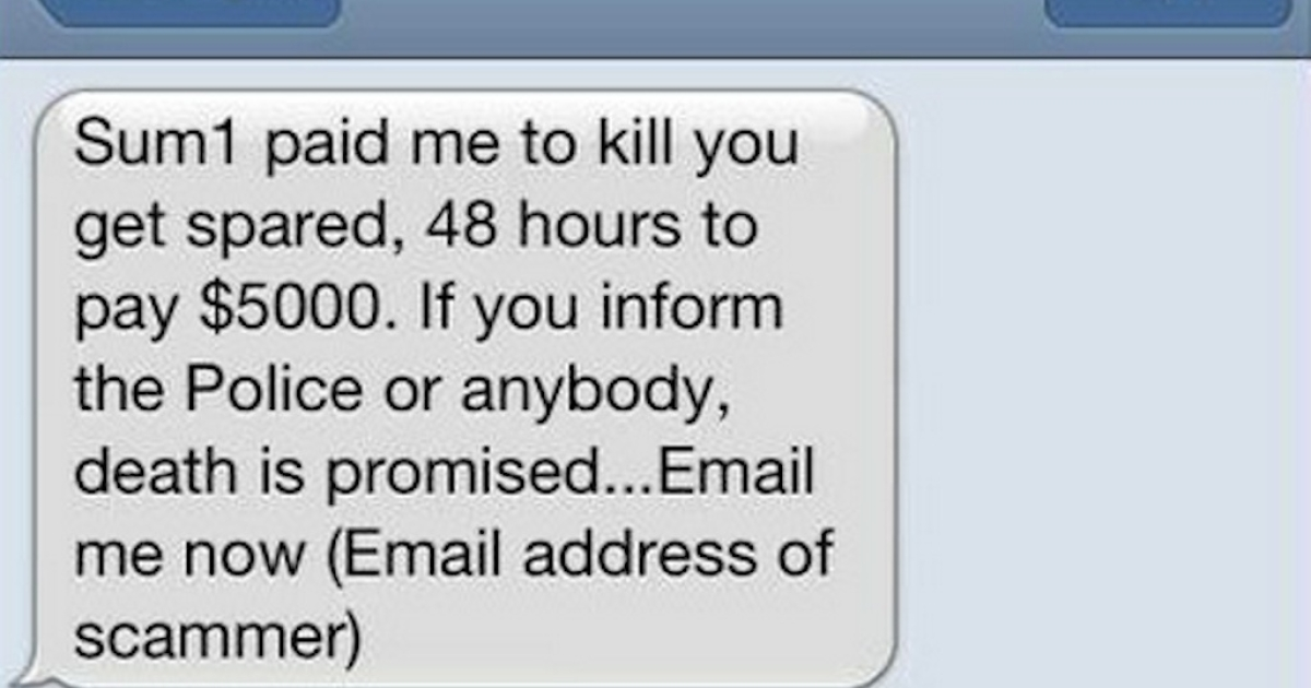 Australia's NSW Police Force have put an example of the threatening text on their Facebook page to warn people of the scam.</p>