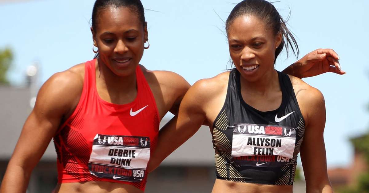 Allyson Felix (R) is congratulated by Debbie Dunn after Felix won the Women's 400 meter dash on day three of the USA Outdoor Track &amp; Field Championships at the Hayward Field on June 25, 2011 in Eugene, Oregon.</p>
