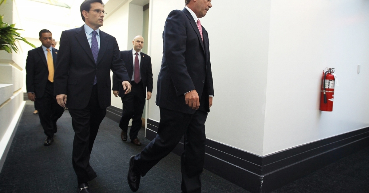 Speaker of the House John Boehner (R-OH) and House Majority Leader Eric Cantor (R-VA) Jan. 18, 2012 on Capital Hill in Washington, D.C.</p>