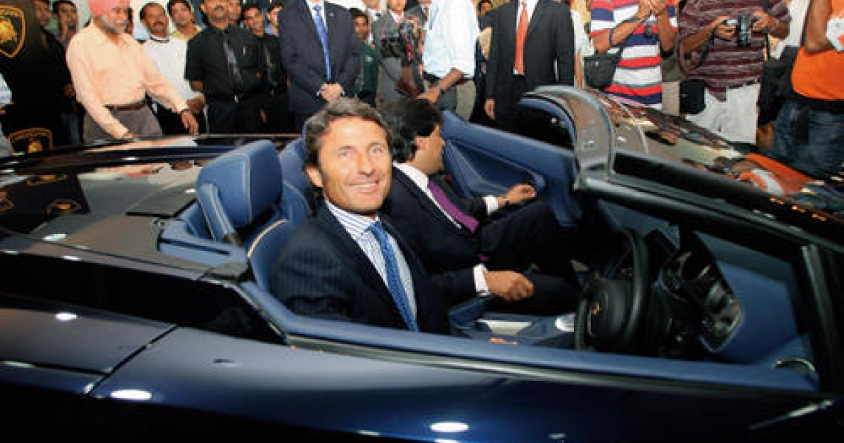 President and CEO of Lamborghini Automobile, Stephen Winkelmann sits in the Lamborghini Gallardo car during a launch in New Delhi, 14 July 2006.  Lamborghini's latest model, the international Gallardo, is a compact two-seater high performance sports cum luxury car launched on Indian roads at the cost of INR 20 million (430,883.87 USD).</p>