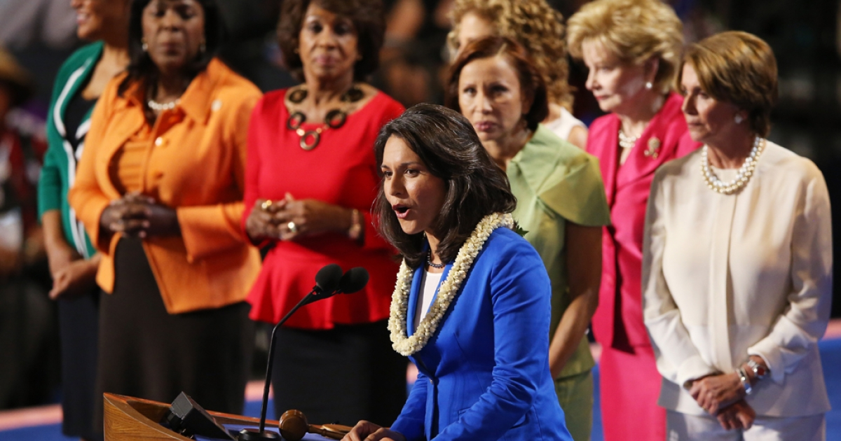 Hawaii Rep. Tulsi Gabbard speaks on stage with other female members of Congress during the Democratic National Convention at Time Warner Cable Arena on September 4, 2012 in Charlotte, North Carolina.</p>