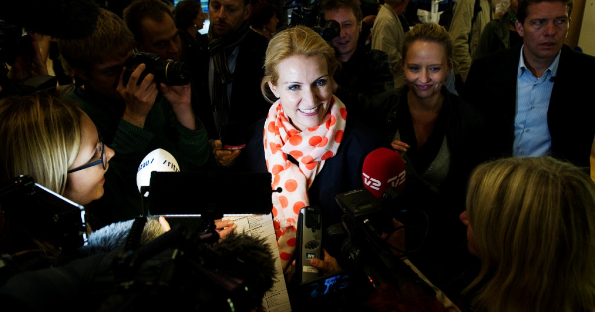 Social Democrats, Helle Thorning-Schmidt speaks as she arrives at a polling station in a school in Copenhagen on September 15, 2011 to vote in the Danish general elections. Danes came out in droves to vote in a general election expected to bring the center-left back to power after a decade in opposition and deliver the country's first woman prime minister.</p>