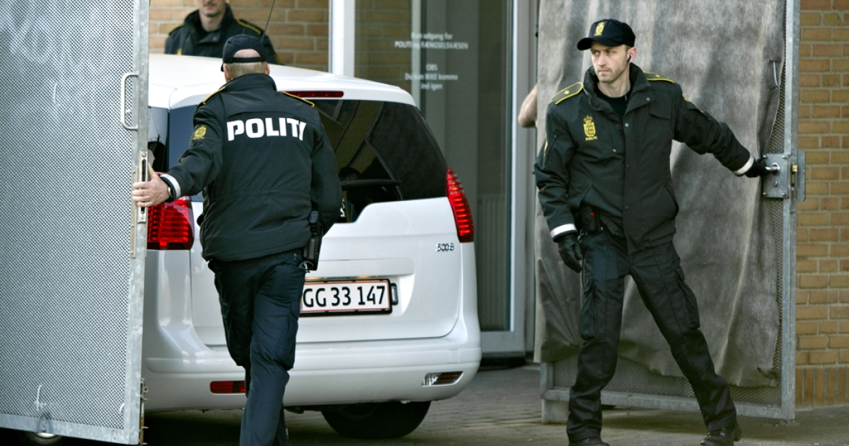 Suspects arrive at the Glostrup courthouse in Copenhagen on April 13, 2012, for their trial over a suspected plot to attack a newspaper that first published controversial cartoons depicting the Prophet Mohammed.</p>