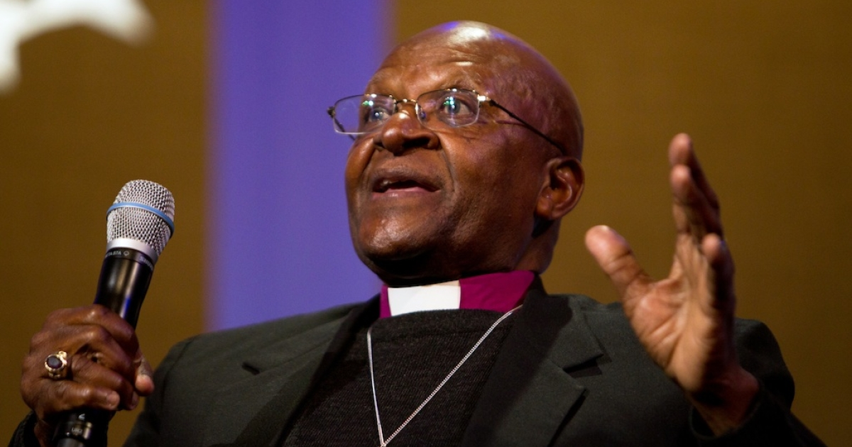 Archbishop Desmond Tutu speaks on stage during the seventh annual meeting of the Clinton Global Initiative at the Sheraton New York Hotel on Sept. 21, 2011, in New York City.</p>