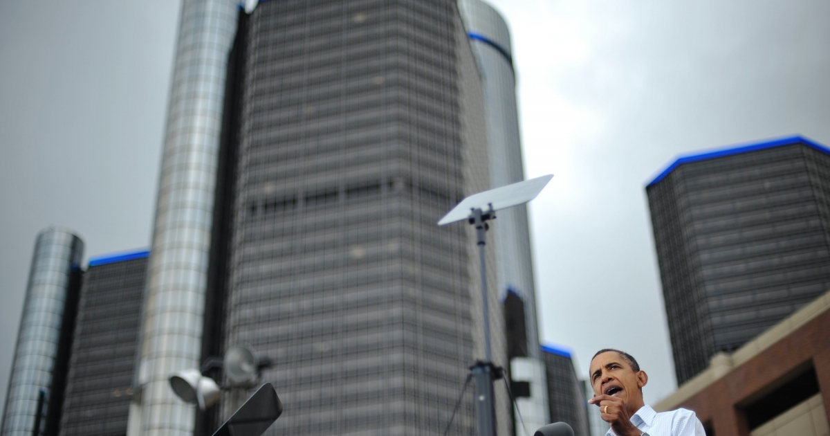 President Barack Obama speaks outside General Motors' world headquarters in Detroit during Labor Day celebrations on Sept. 5, 2011.</p>