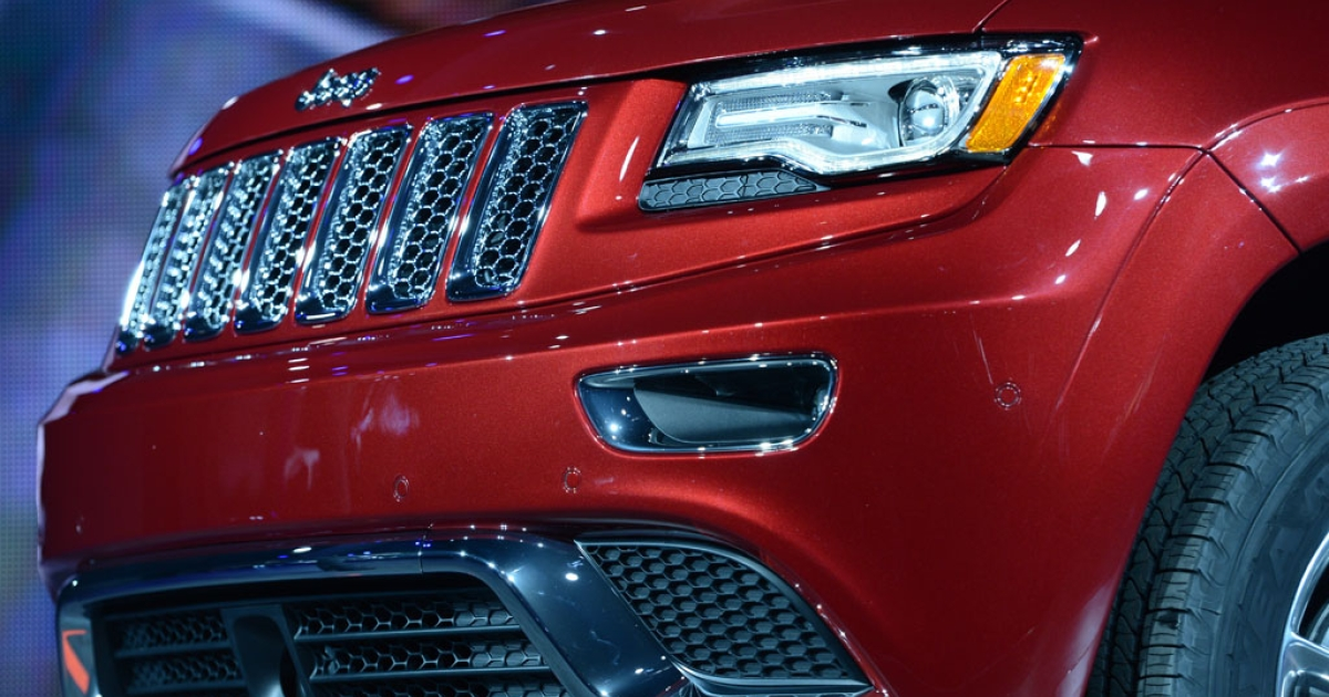 Detail on the 2014 Jeep Grand Cherokee as it is introduced at the 2013 North American International Auto Show in Detroit, Michigan, January 14, 2013.</p>