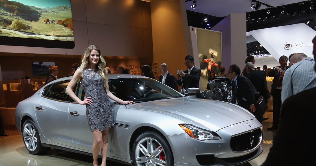 DETROIT, MI - JANUARY 14:  Maserati unveiled the all-new Quattroporte during the media preview at the North American International Auto Show on January 14, 2013 in Detroit, Michigan. The auto show will be open to the public January 19-27.</p>