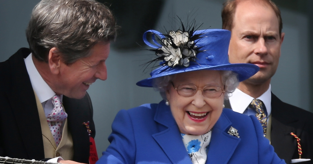 Queen Elizabeth II smiles as she watches The Derby winner come in with her racing manager John Warren (L) and Prince Edward, Earl of Wessex on June 2, 2012 in Epsom, England. Maybe she's feeling less stressed now?</p>