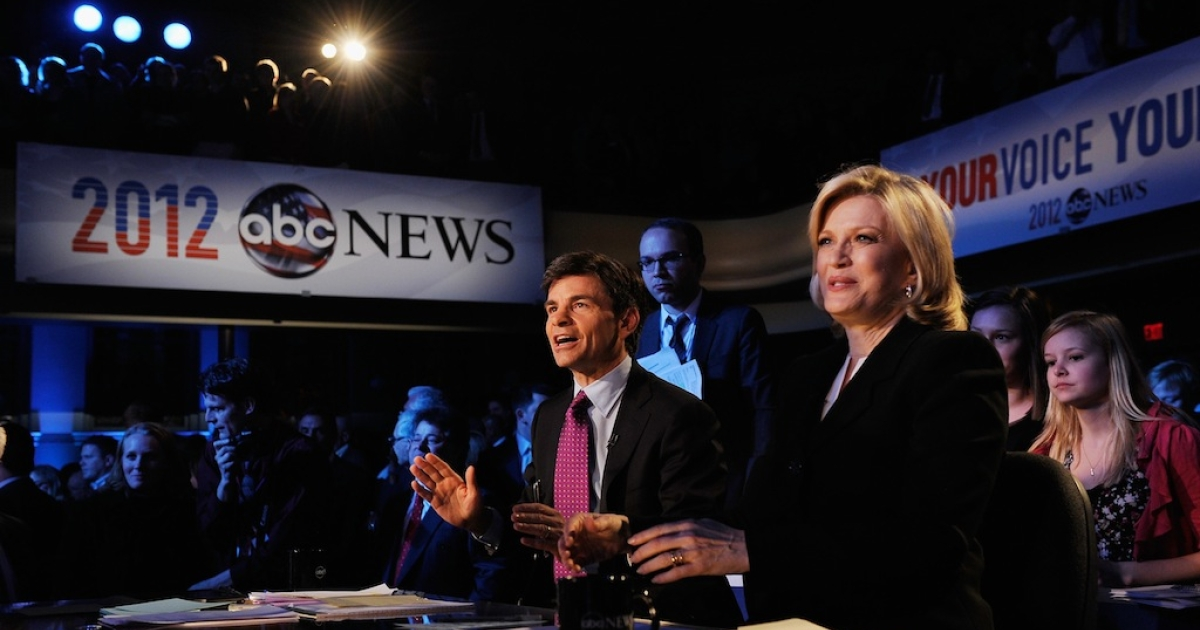 Moderators George Stephanopoulos and Diane Sawyer during the ABC News GOP Presidnetial debate on the campus of Drake University on December 10, 2011.</p>