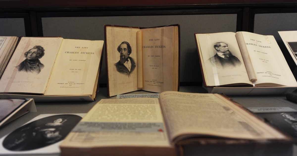 A picture shows a collection of early editions of novels written by British author Charles Dickens at the Charles Dickens Museum based in a house where the novelist lived in central London on February 6, 2012. Dickens' great-great grandson is collaborating with JRR Tolkien's grandson on two fantasy children's novels.</p>