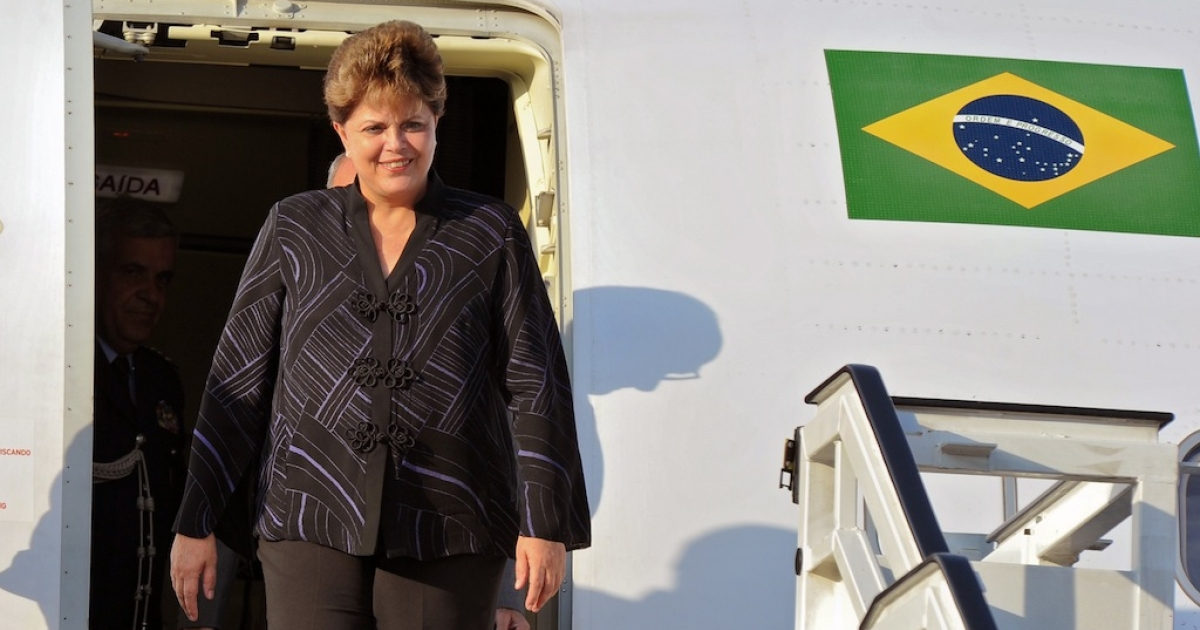 Brazilian President Dilma Rousseff arrives to Jose Marti airport, in Havana on January 30, 2012. Dilma is in Cuba on a three-day official visit.</p>