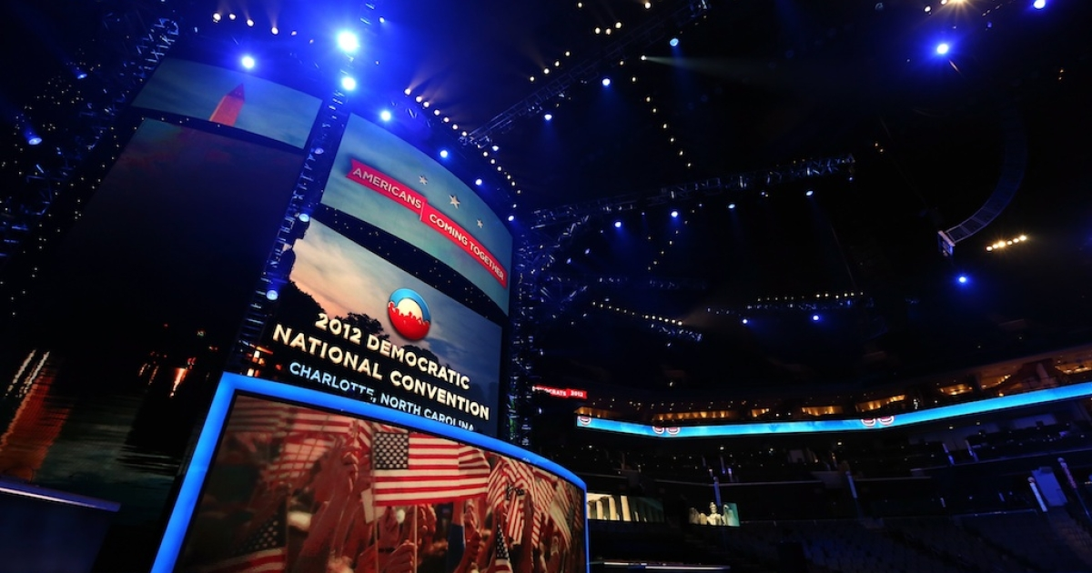 A general view of the inside of the arena during the Democratic National Convention Committee Unveiling Stage for the DNC at Time Warner Cable Arena on August 31, 2012 in Charlotte, North Carolina.</p>