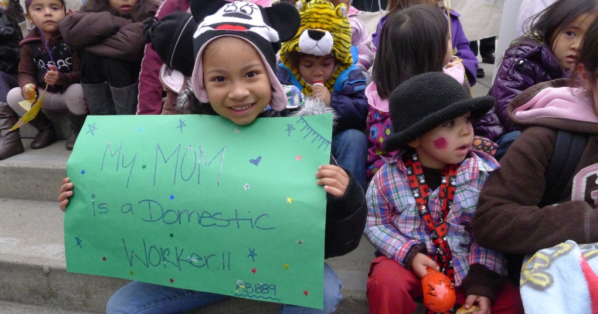 Children of domestic workers rally in support of their parents and pending legislation known as the California Domestic Workers Bill of Rights, which would extend fair labor laws to in-home employees. (Flickr)</p>