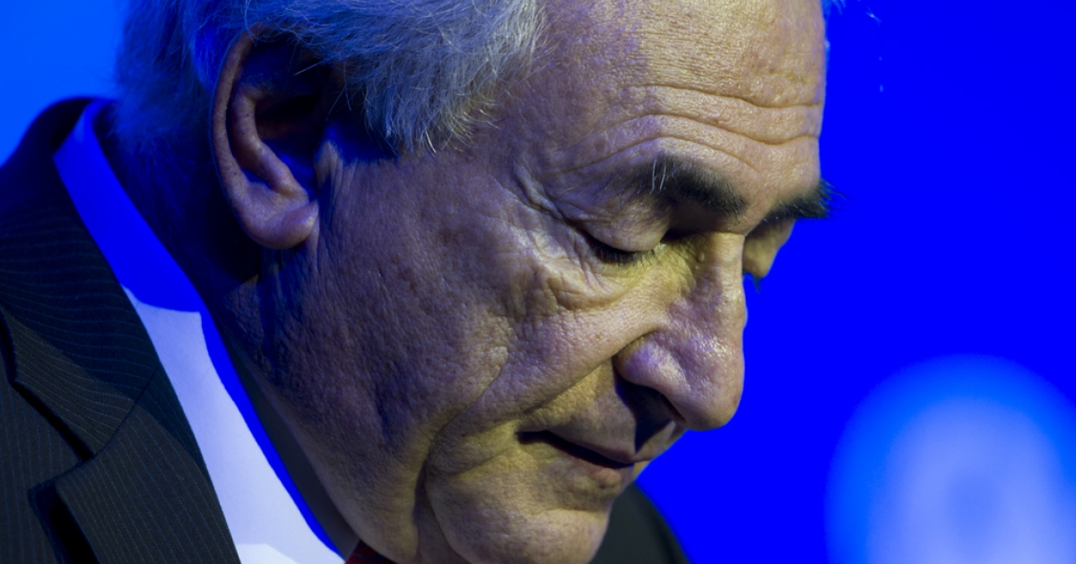 Former IMF chief Dominique Strauss-Kahn prepares to speak at an economic forum in Beijing on December 19, 2011.</p>