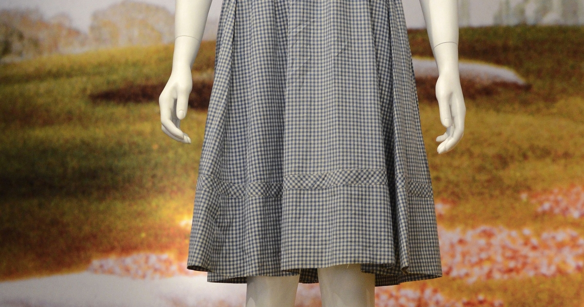 The blue gingham dress Judy Garland wore as Dorothy Gale in