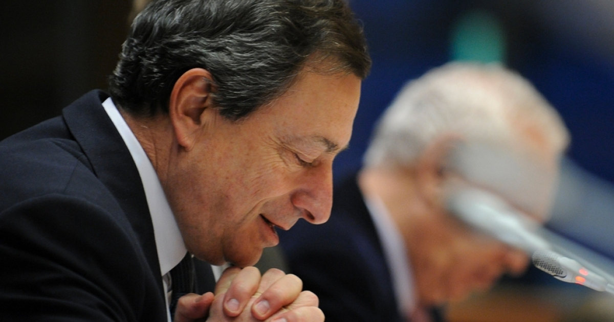 ECB President Mario Draghi appearing before Members of the European Parliament today in Brussels</p>