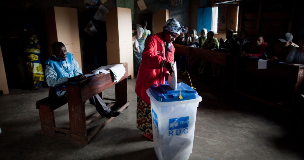 Voters in the Democratic Republic of Congo headed to the polls Monday, Nov. 28, 2011.</p>
