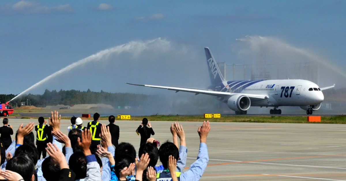All Nippon Airways (ANA) ground crew wave goodbye to the company's first commercial flight of a Boeing 787 Dreamliner on its departure for Hong Kong on October 26, 2011 at Narita Airport in Chiba prefecture, suburban Tokyo.</p>