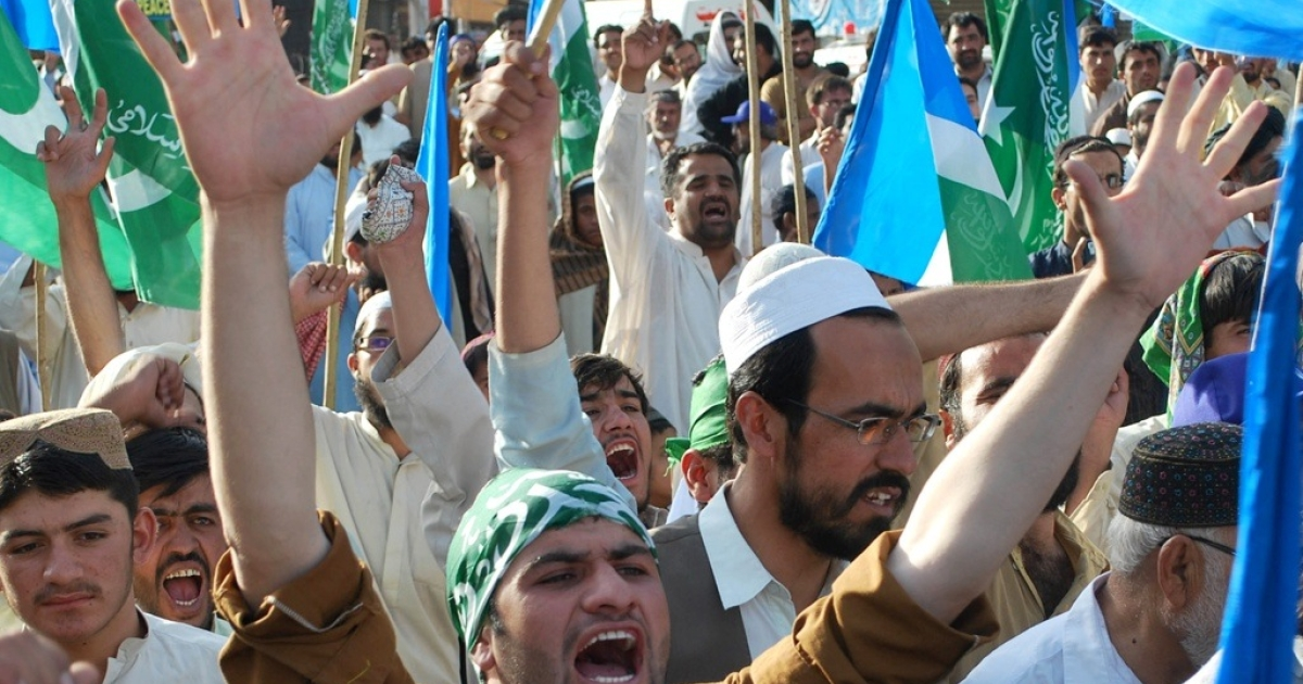 Pakistanis shout slogans during a demonstration in Quetta, on July 19, 2011, to protest against U.S. drone attacks.</p>