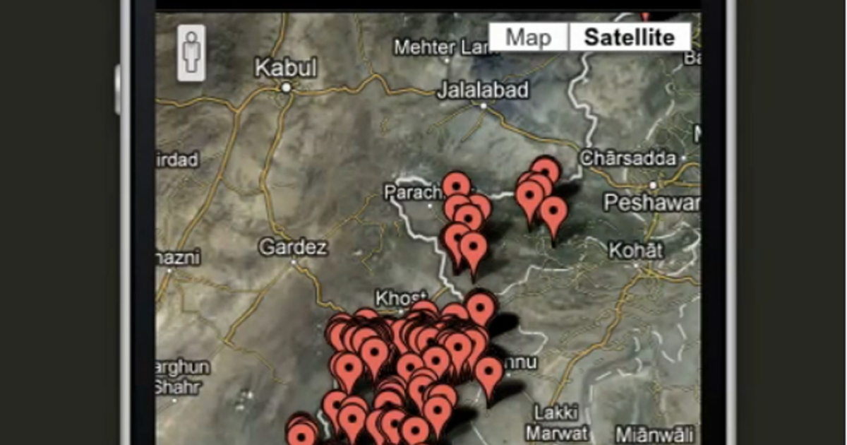 A screengrab from a video on Josh Begley's US drone strike app Drones+.</p>