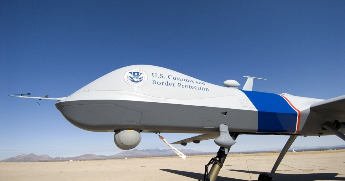 The MQ-9 Predator B, an unmanned surveillance aircraft system, is unveiled by US Customs and Border Protection at Libby Army Airfield on Oct. 30, 2006 in Sierra Vista, Ariz.</p>