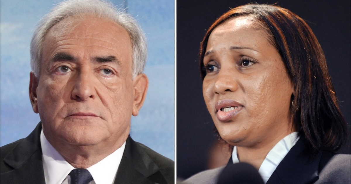 Nafissatou Diallo (R), a 33-year-old Guinean immigrant who accused former IMF head Dominique Strauss-Kahn of sexual assault, and Strauss-Kahn (L).</p>
