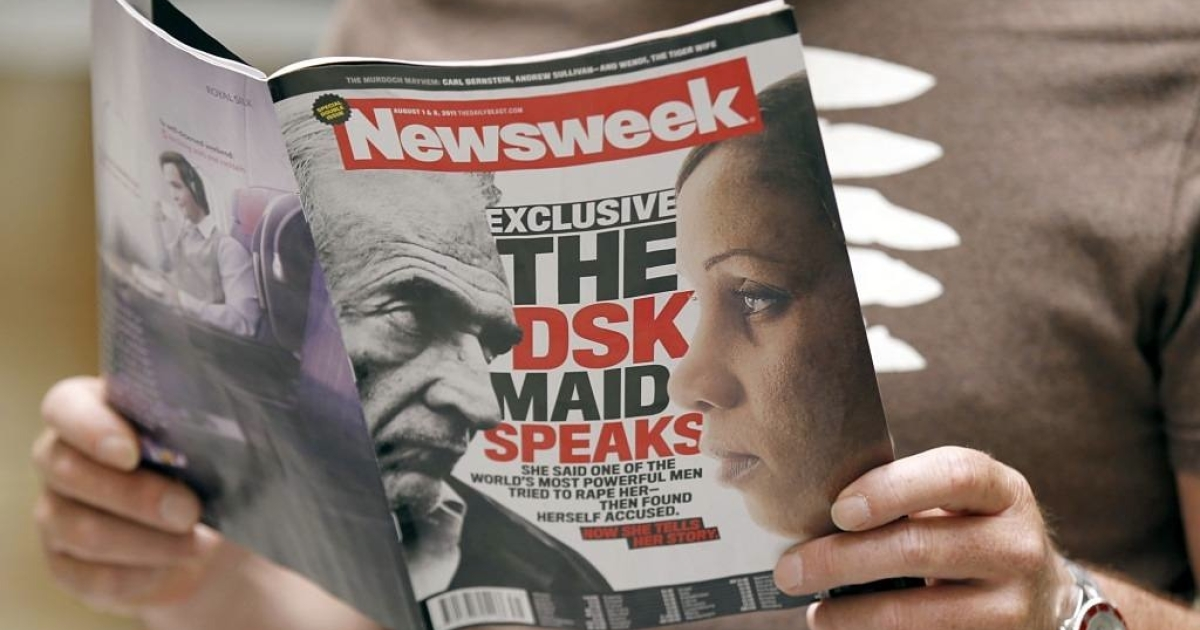 The front page of the US daily weekly magazine 'Newsweek' announced the interview with the Guinean maid, Nafissatou Diallo, who accused former IMF chief, French Dominique Strauss-Kahn, of sexual assault.</p>