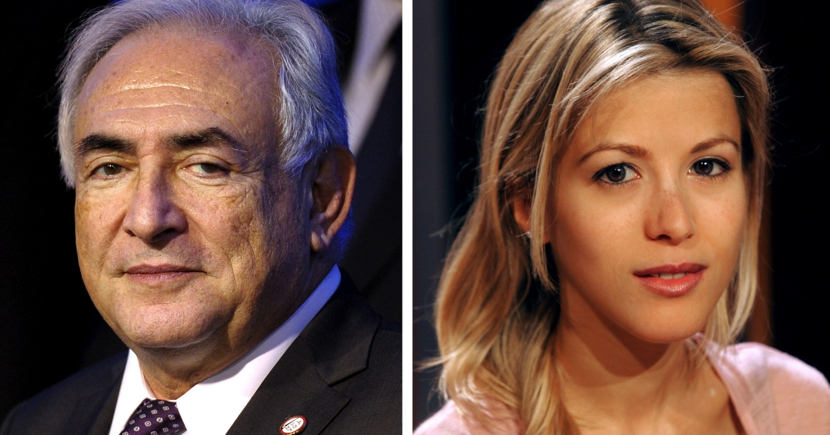 A combination of two images shows (at L) a picture taken in 2011 of former IMF chief Dominique Strauss-Kahn and a picture taken in 2004 of French writer Tristane Banon.</p>