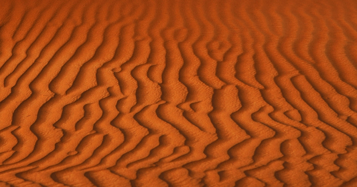 Sand dunes outside of Dubai, United Arab Emirates.</p>