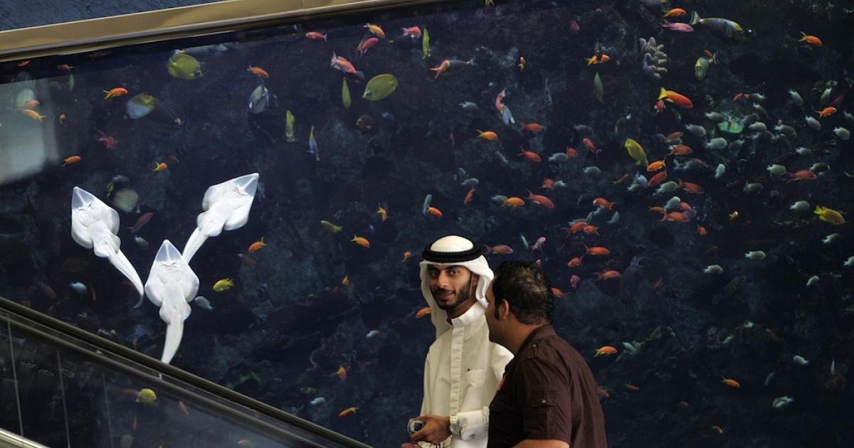 An Aquarium is seen in the lobby of Dubai's landmark the Burj Al-Arab hotel on May 21, 2008.</p>