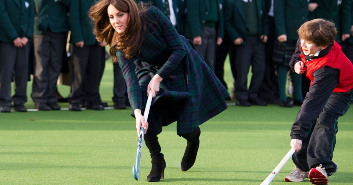 Catherine, Duchess of Cambridge, takes part in St Andrew's Day celebrations at St Andrew's School on November 30, 2012 in Pangbourne, England. The Duchess visited her old school, unveiled a plaque to open a new turf playing field and met members of the school's hockey team, which she played for during her time there (1986-1995).</p>