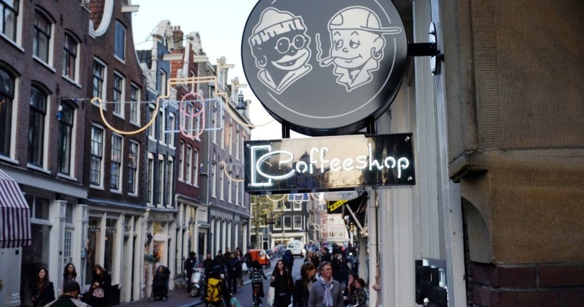 One of the Netherlands' many licensed coffee shops, which will soon have to close its doors to everyone except residents carrying 'weed passes'.</p>