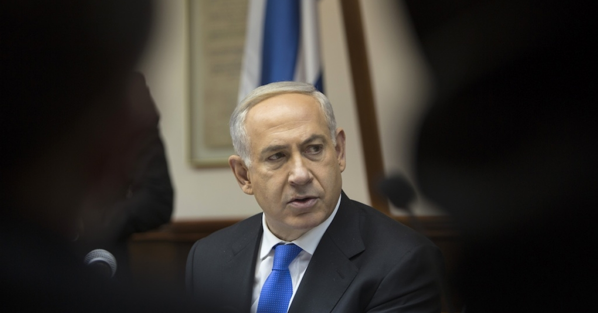 Israel's Prime Minister Benjamin Netanyahu attends the weekly cabinet meeting in January 13, 2013 in Jerusalem, Israel.</p>