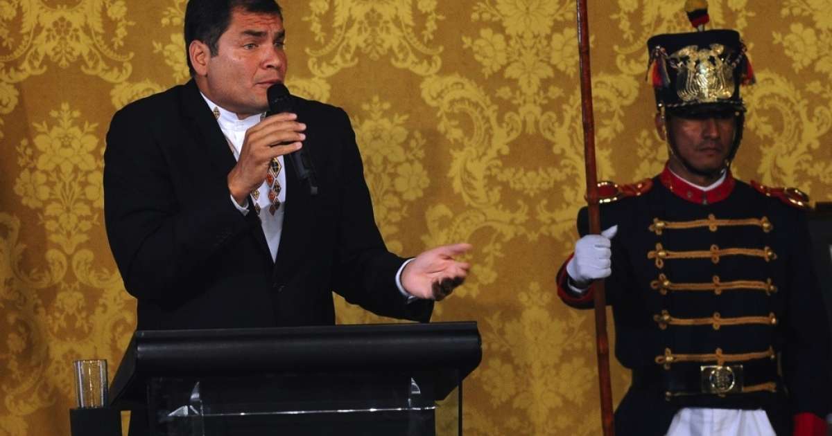 Ecuador President Rafael Correa speaks during a press conference at the Carondelet presidential palace in Quito on Feb. 27, 2011. Correa announced Monday he was pardoning the executives and a former columnist of El Universo newspaper in a high-profile libel case in which a court levied jail sentences and a $40 million fine.</p>