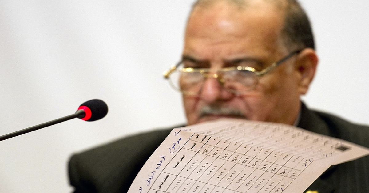 A document with poll results sits in front of Abdel Moez Ibrahim, head of the Egyptian election commission, during a press conference in Cairo on December 2, 2011. Turnout in the opening phase of Egypt's first post-revolution election was 62 percent, the highest in the country's history, Ibrahim announced.</p>