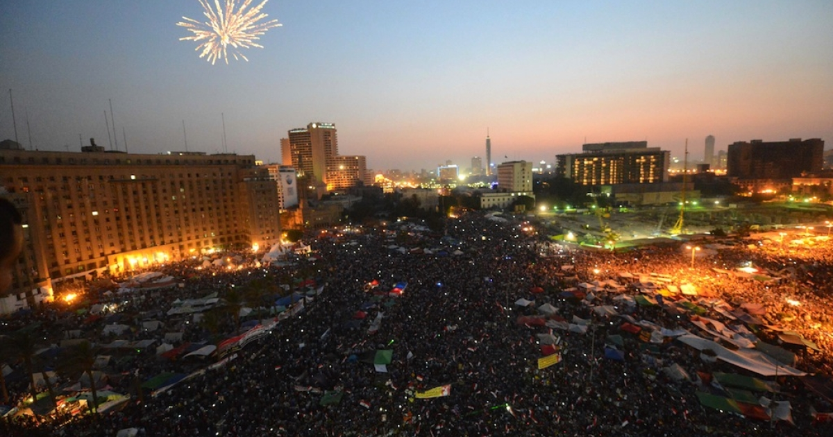 Fireworks light up the sky as Egyptians celebrate in Cairo's Tahrir Square the victory of Muslim Brotherhood member Mohamed Morsi in the national elections, on June 24, 2012. Morsi was declared the first president of Egypt since a popular uprising ousted Hosni Mubarak, beating Mubarak-era minister Ahmed Shafiq and capping a tumultuous and divisive military-led transition.</p>