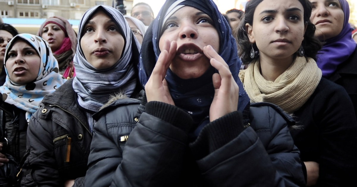 Egyptian women protest against the military's support for virginity tests on women in Cairo on Dec. 27, 2011.</p>