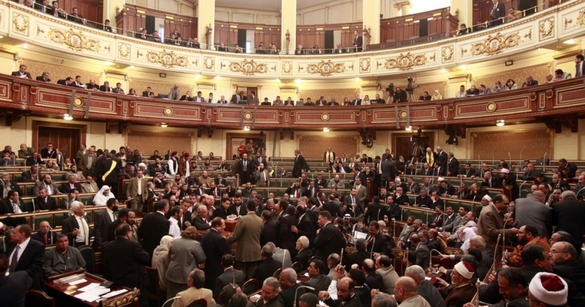 A general view of the first Egyptian parliament session since the revolution that ousted former president Hosni Mubarak, January 23, 2012 in Cairo, Egypt.</p>