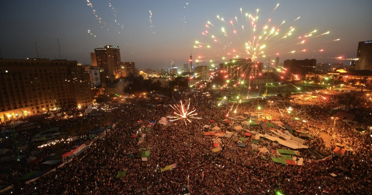 Egyptians set off fireworks in Cairo's Tahrir Square as they celebrate the victory of the Muslim Brotherhood's candidate, Mohamed Morsi, in Egypt's presidential elections on June 24, 2012. Tens of thousands packed into Tahrir Square in the largest celebration the protest hub has witnessed since Hosni Mubarak's ouster, to celebrate their new president-elect, Morsi.</p>
