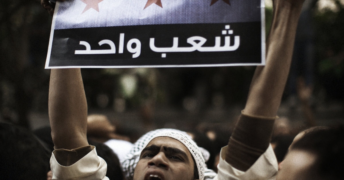 A protester holds a sign reading 'One people' during a demonstration organized by Egyptians and Syrians living in Egypt to call for the expulsion of the Syrian ambassador outside the Syrian embassy in Cairo.</p>
