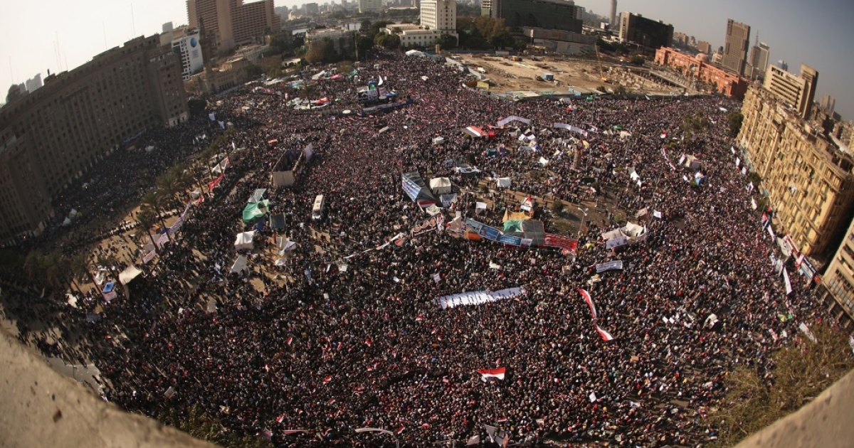 Egyptians gather in Tahrir Square to mark the one year anniversary of the revolution on Jan. 25, 2012 in Cairo Egypt.</p>